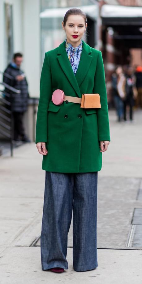 blue-navy-wideleg-pants-blue-light-top-blouse-green-emerald-jacket-coat-tan-bag-fannypack-hairr-fall-winter-lunch.jpg