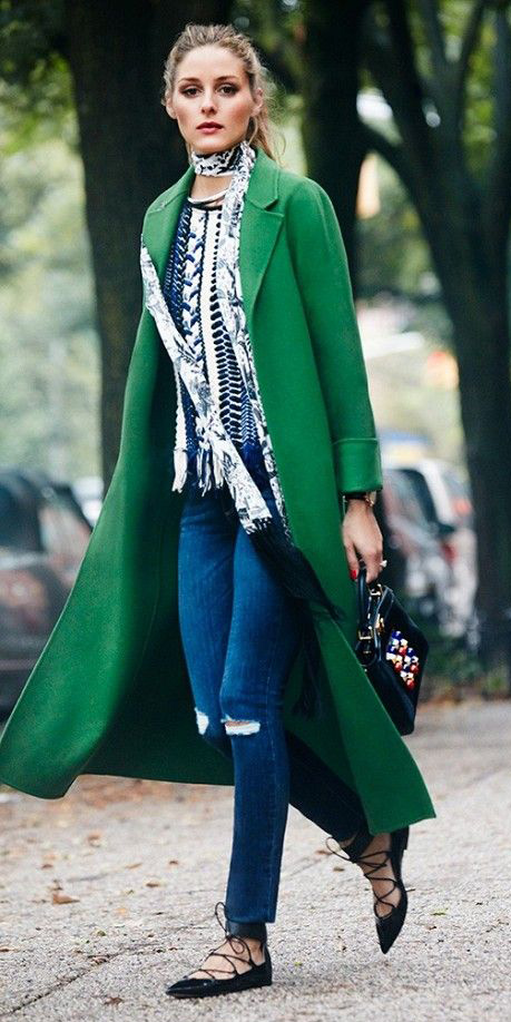blue-med-skinny-jeans-white-scarf-skinny-pony-oliviapalermo-black-shoe-flats-green-emerald-jacket-coat-fall-winter-hairr-lunch.jpg