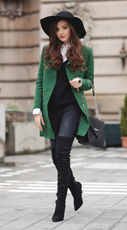 black-skinny-jeans-white-collared-shirt-black-sweater-green-emerald-jacket-coat-black-bag-black-shoe-boots-hat-howtowear-fashion-style-outfit-brun-fall-winter-work.jpg
