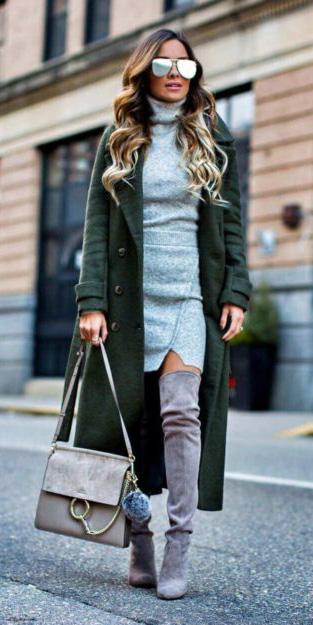 grayl-dress-sweater-turtleneck-green-dark-jacket-coat-sun-gray-shoe-boots-fall-winter-hairr-lunch.jpg