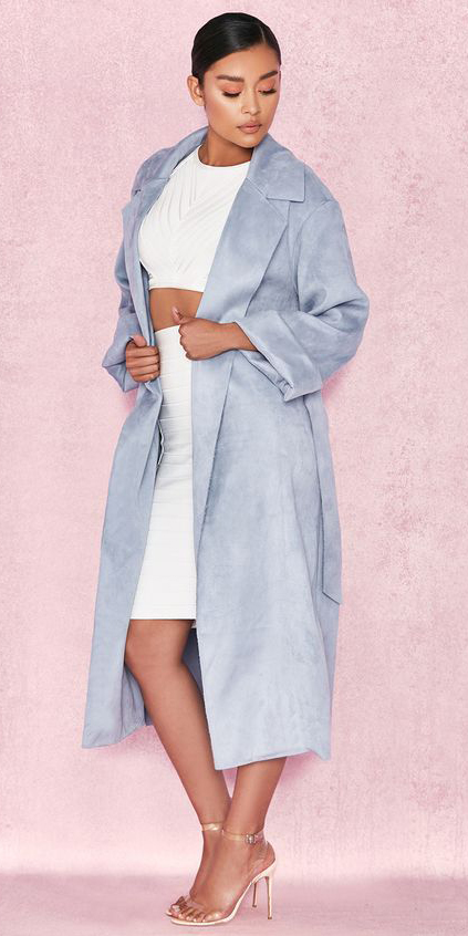white-pencil-skirt-white-crop-top-brun-bun-blue-light-jacket-coat-trench-clear-shoe-sandalh-spring-summer-dinner.jpg