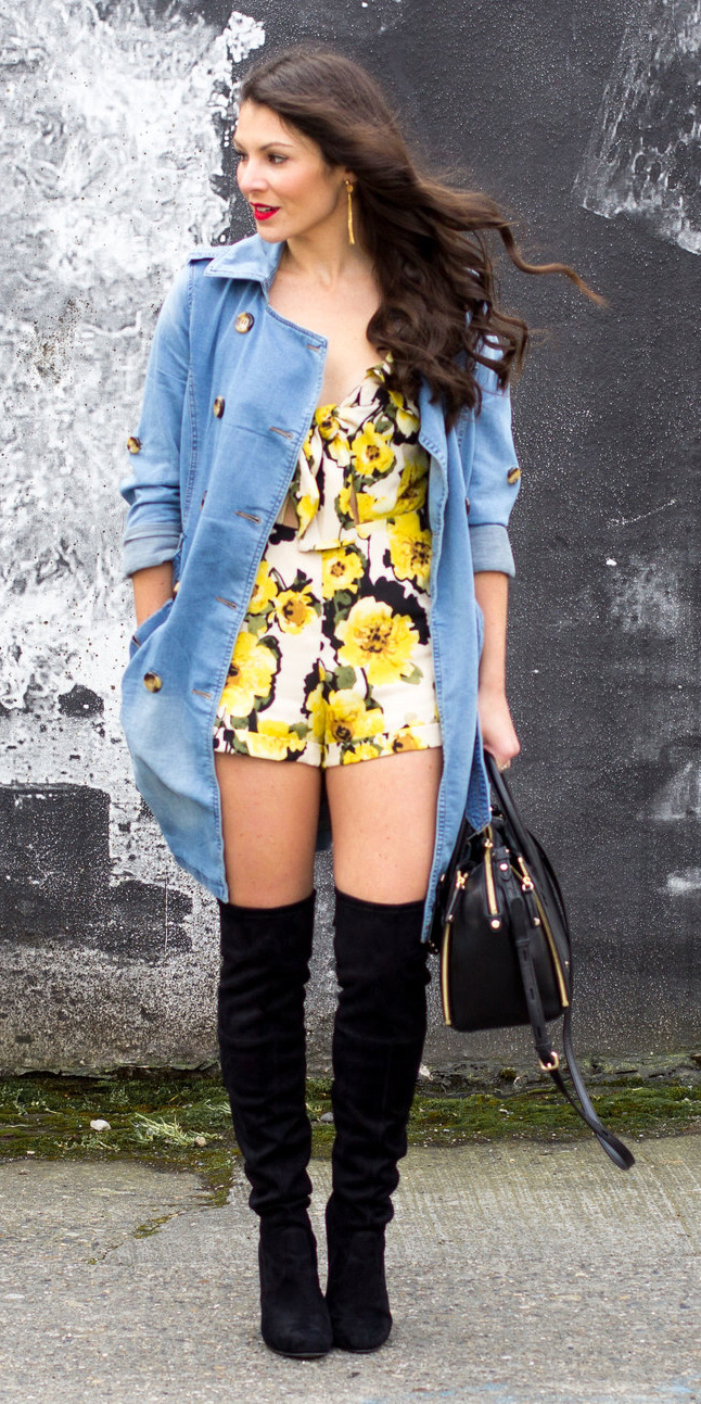 yellow-jumper-romper-print-blue-light-jacket-coat-trench-black-shoe-boots-otk-earrings-brun-black-bag-spring-summer-lunch.jpg
