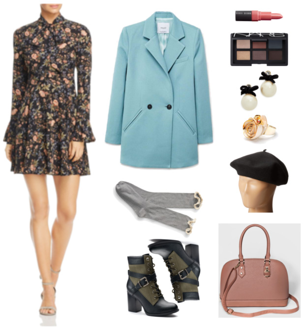 green-olive-dress-mini-print-socks-pink-bag-green-shoe-booties-hat-beret-pearl-studs-blue-light-jacket-coat-fall-winter-lunch.jpg