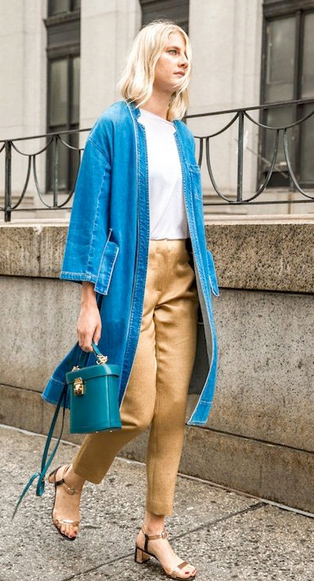 o-tan-slim-pants-white-tee-blue-med-jacket-coat-denim-blue-bag-tan-shoe-sandals-howtowear-fashion-style-outfit-spring-summer-blonde-lunch.jpg