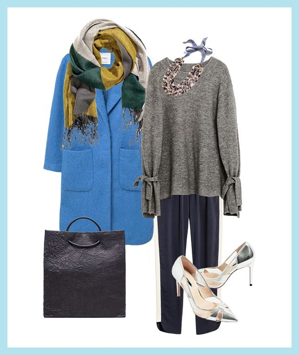 blue-navy-joggers-pants-grayl-sweater-necklace-gray-shoe-pumps-metallic-silver-blue-med-jacket-coat-yellow-scarf-fall-winter-work.jpg