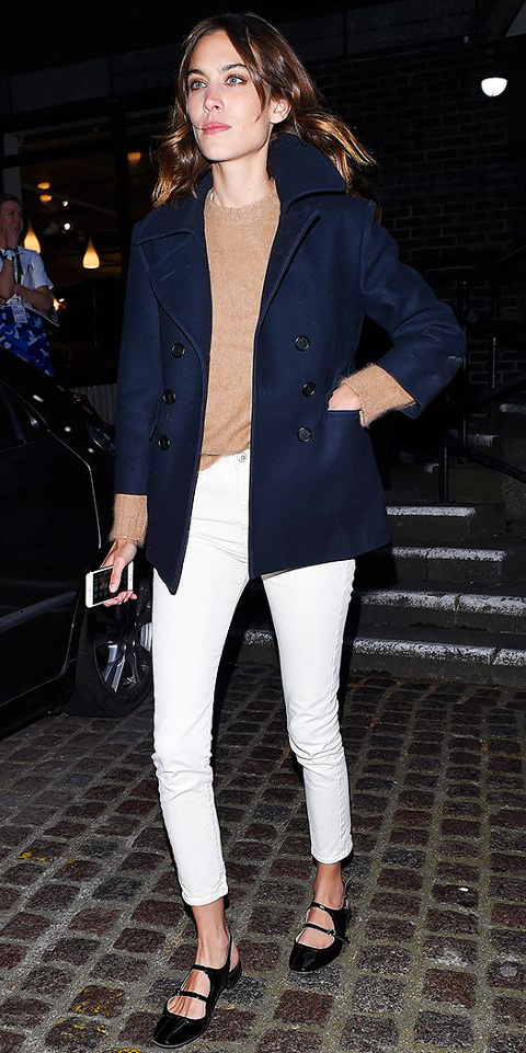 white-skinny-jeans-tan-sweater-hairr-alexachung-black-shoe-flats-blue-navy-jacket-coat-peacoat-fall-winter-lunch.jpg