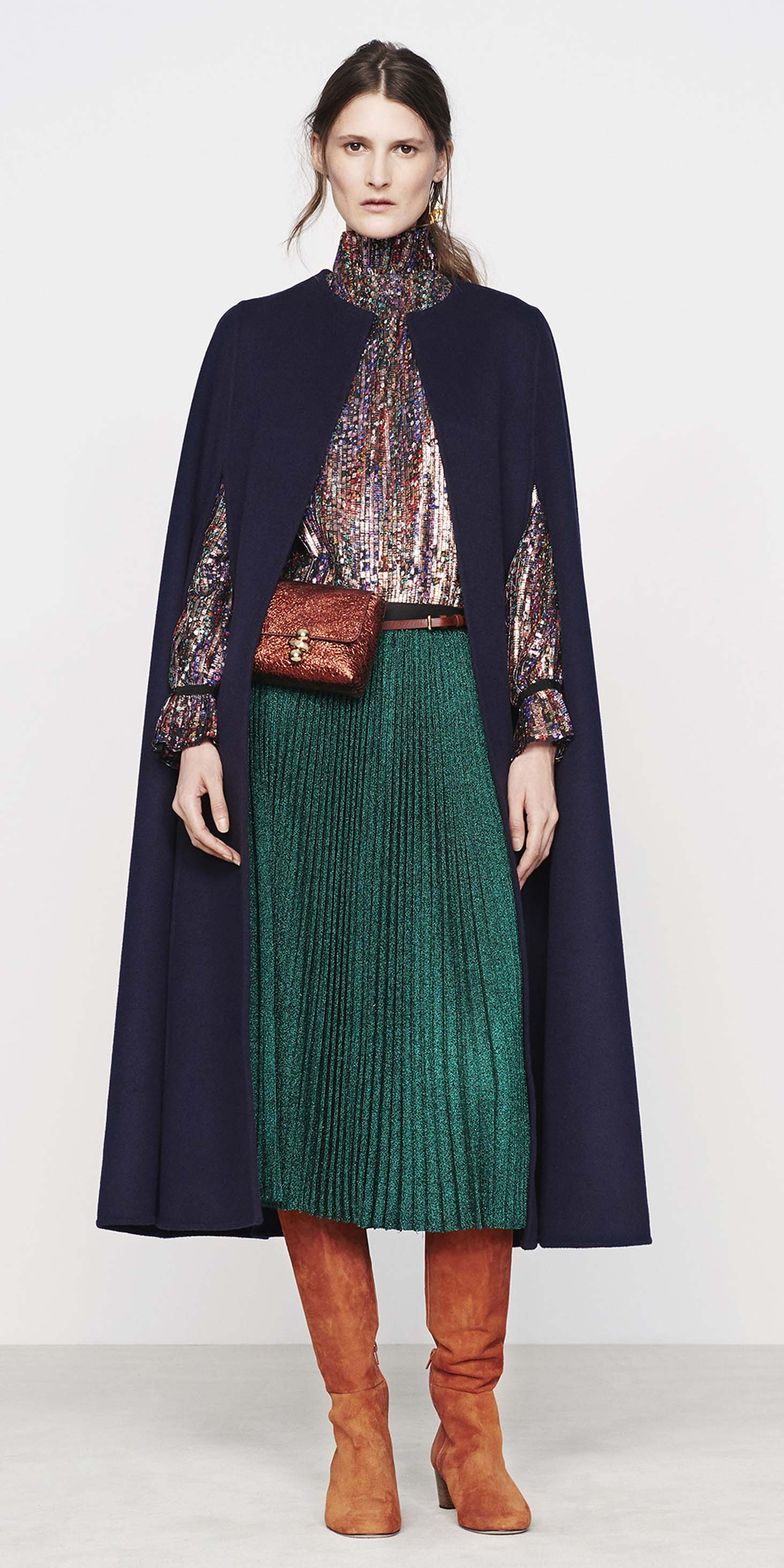 green-dark-midi-skirt-pleated-cognac-shoe-boots-fannypack-blue-navy-jacket-coat-fall-winter-hairr-lunch.jpg