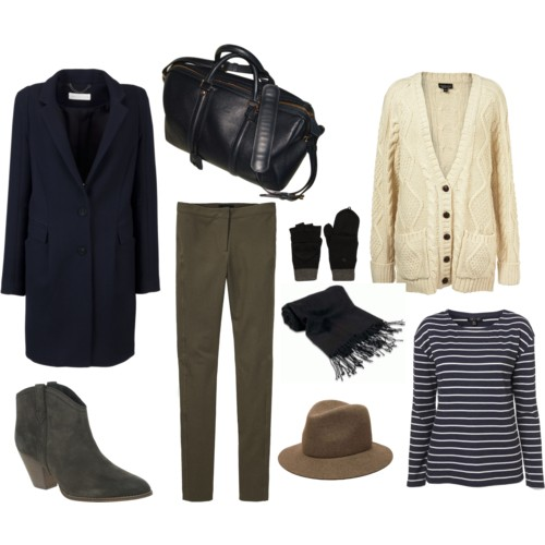 green-olive-slim-pants-blue-navy-tee-stripe-black-bag-howtowear-fashion-style-outfit-fall-winter-white-cardiganl-blue-navy-jacket-coat-gloves-black-scarf-hat-green-shoe-booties-layer-weekend.jpg