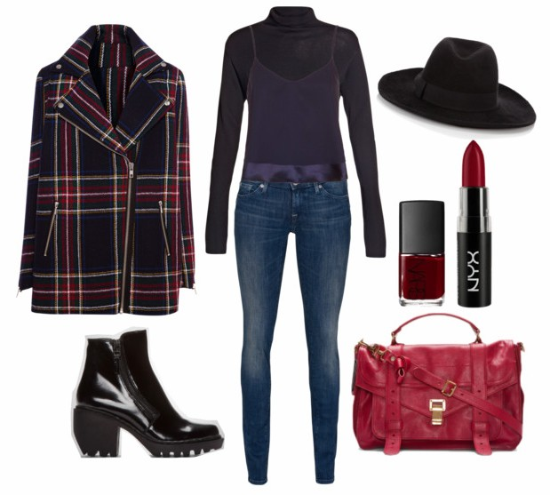 blue-med-skinny-jeans-blue-navy-tee-turtleneck-red-bag-blue-navy-jacket-coat-plaid-hat-black-shoe-booties-nail-blue-navy-cami-fall-winter-lunch.jpg