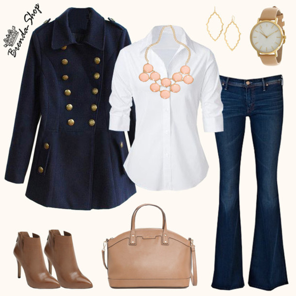 blue-navy-flare-jeans-white-collared-shirt-blue-navy-jacket-coat-tan-bag-bib-necklace-hoops-cognac-shoe-booties-howtowear-fashion-style-outfit-fall-winter-military-watch-work.jpg
