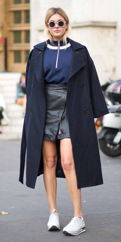 black-mini-skirt-leather-blue-navy-sweater-blonde-sun-white-shoe-sneakers-blue-navy-jacket-coat-trench-fall-winter-weekend.jpg