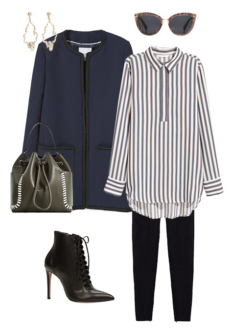 black-leggings-blue-navy-collared-shirt-stripe-green-bag-black-shoe-booties-sun-blue-navy-jacket-coat-earrings-tuckinfrontofshirt-howtowear-fashion-style-outfit-spring-summer-work.jpg
