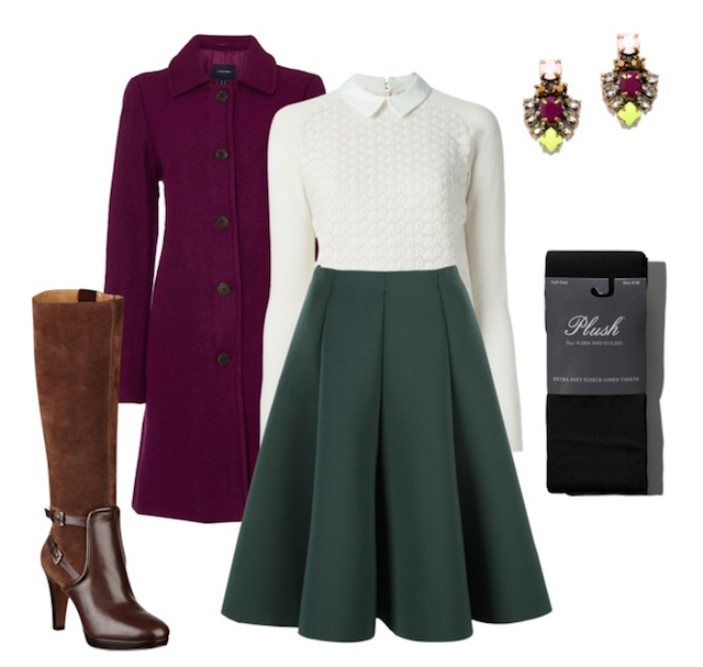 green-dark-midi-skirt-white-sweater-purple-royal-jacket-coat-brown-shoe-boots-black-tights-earrings-wear-outfit-fall-winter-office-work.jpg