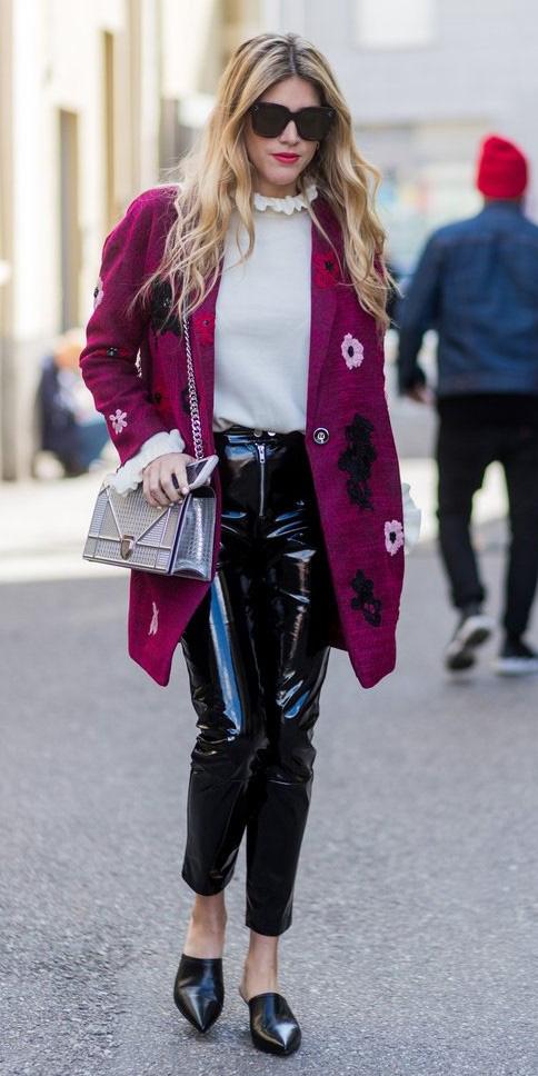 black-slim-pants-leather-patent-white-blouse-purple-royal-jacket-coat-blonde-gray-bag-black-shoe-pumps-mules-sun-fall-winter-lunch.jpg
