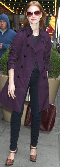 black-skinny-jeans-hairr-sun-jessicachastain-purple-royal-jacket-coat-trench-fall-winter-lunch.jpg