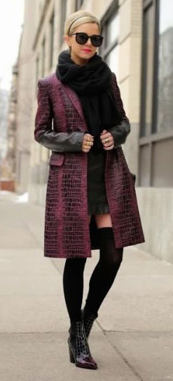 black-dress-black-scarf-purple-royal-jacket-coat-sun-head-bun-socks-black-shoe-booties-mini-howtowear-fashion-style-outfit-blonde-fall-winter-dinner.jpg