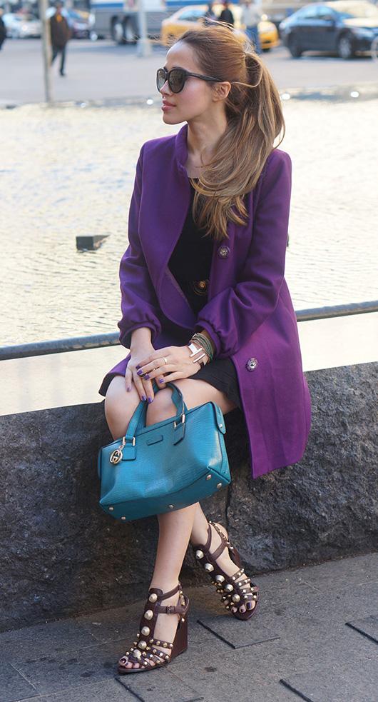 black-dress-purple-royal-jacket-coat-blue-bag-sun-pony-brown-shoe-sandalh-shift-outfit-hairr-spring-summer-lunch.jpg