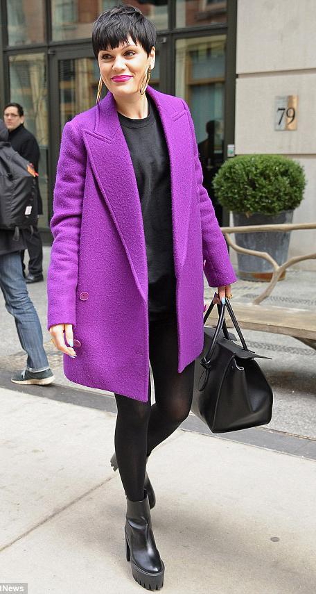 black-tee-black-tights-black-shoe-booties-black-bag-purple-royal-jacket-coat-hoops-howtowear-fashion-style-outfit-fall-winter-brun-lunch.jpg