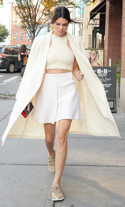 white-mini-skirt-white-top-halter-crop-wear-style-fashion-spring-summer-pony-kendalljenner-tan-shoe-sneakers-white-jacket-coat-brun-lunch.jpg