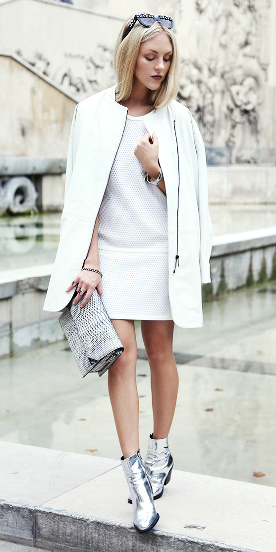 white-dress-mini-white-jacket-coat-blonde-sun-gray-shoe-booties-silver-metallic-fall-winter-lunch.jpg