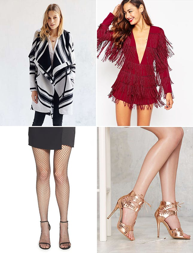 newyearseve-red-jumper-romper-white-jacket-coat-stripe-tan-shoe-sandalh-gold-fringe-black-tights-fishnet-fall-winter-dinner.jpg
