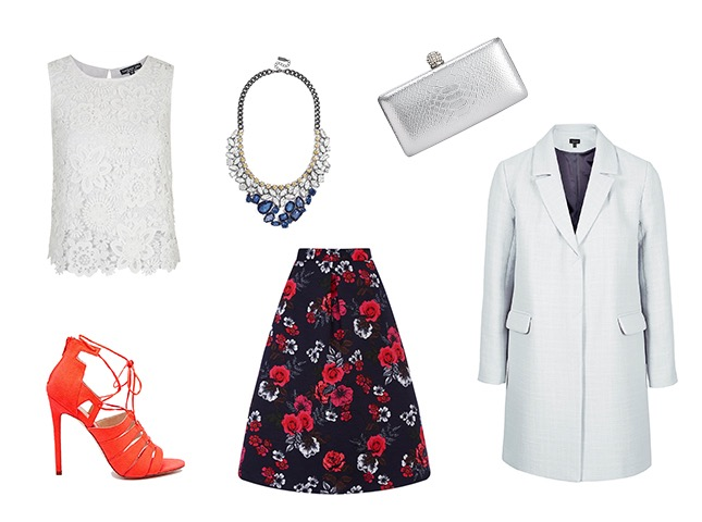 red-midi-skirt-floral-print-white-top-lace-red-shoe-sandalh-bib-necklace-white-jacket-coat-gray-bag-clutch-gardenparty-wedding-howtowear-fashion-style-outfit-spring-summer-dinner.jpg