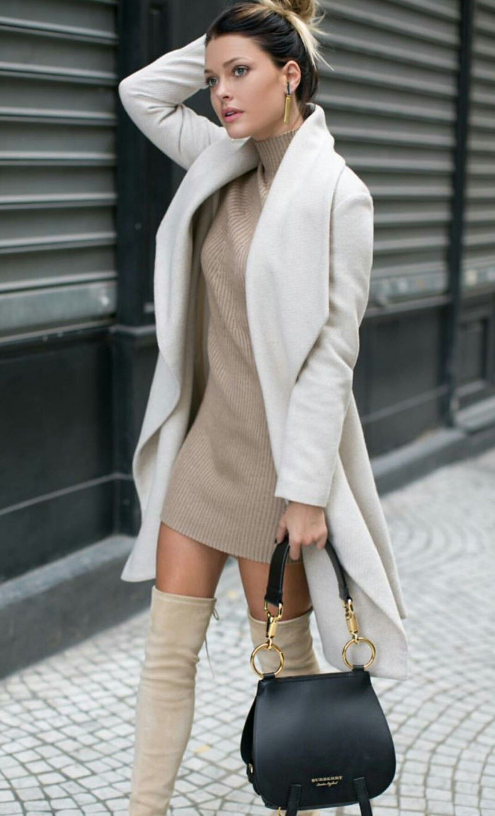 tan-dress-sweater-black-bag-tan-shoe-boots-otk-white-jacket-coat-tonal-earrings-blonde-bun-fall-winter-lunch.jpg