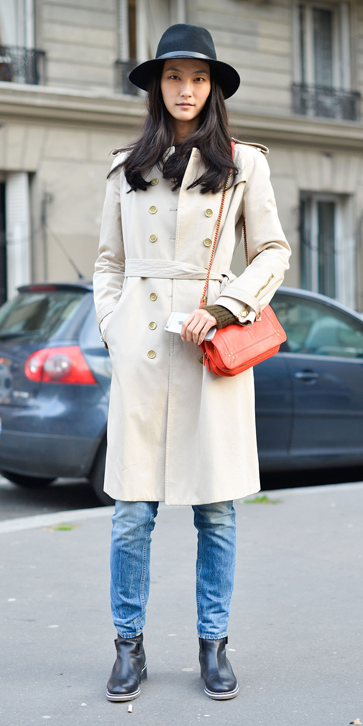 blue-med-skinny-jeans-brun-hat-orange-bag-black-shoe-booties-white-jacket-coat-trench-fall-winter-weekend.jpg