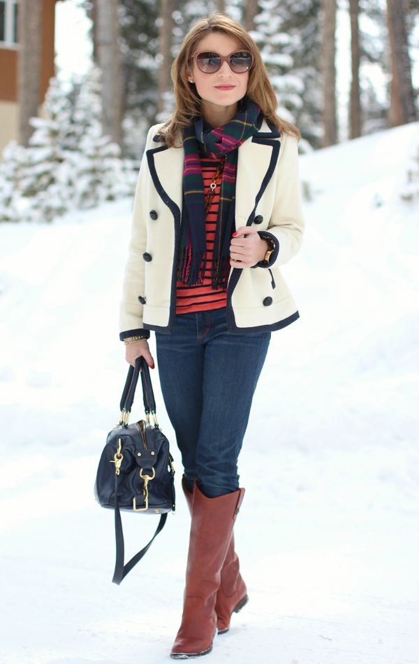 blue-navy-skinny-jeans-orange-tee-stripe-blue-navy-scarf-plaid-mixprints-hairr-sun-cognac-shoe-boots-white-jacket-coat-peacoat-fall-winter-weekend.jpg