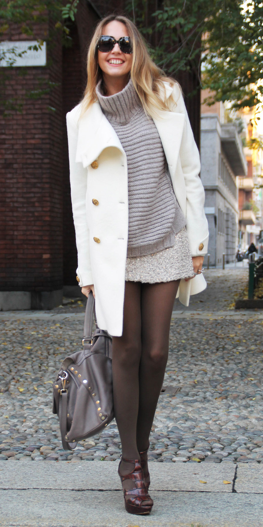 grayl-mini-skirt-grayl-sweater-turtleneck-brown-tights-brown-shoe-sandalh-gray-bag-blonde-white-jacket-coat-peacoat-fall-winter-dinner.jpg