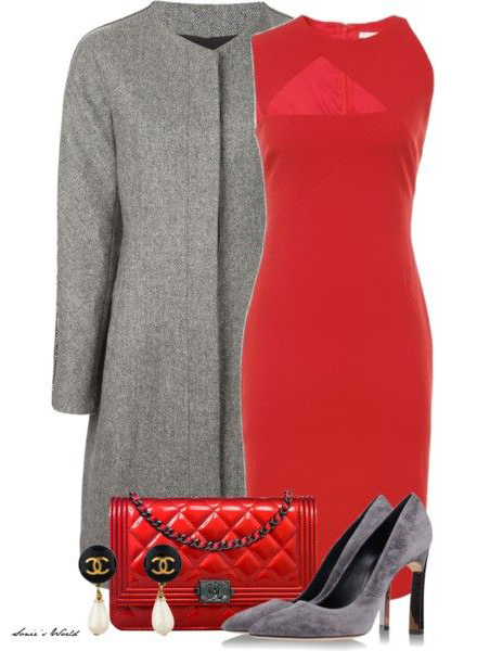 red-dress-grayl-jacket-coat-red-bag-gray-shoe-pumps-howtowear-fashion-style-outfit-fall-winter-sheath-shift-office-work.jpg