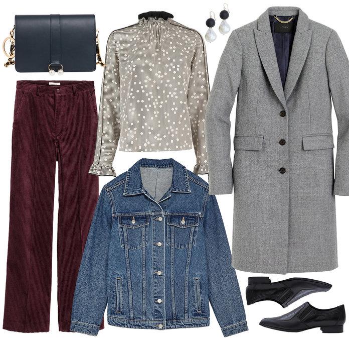 burgundy-wideleg-pants-corduroy-black-shoe-brogues-earrings-black-bag-blue-med-jacket-jean-grayl-top-blouse-peasant-grayl-jacket-coat-fall-winter-dinner.jpg