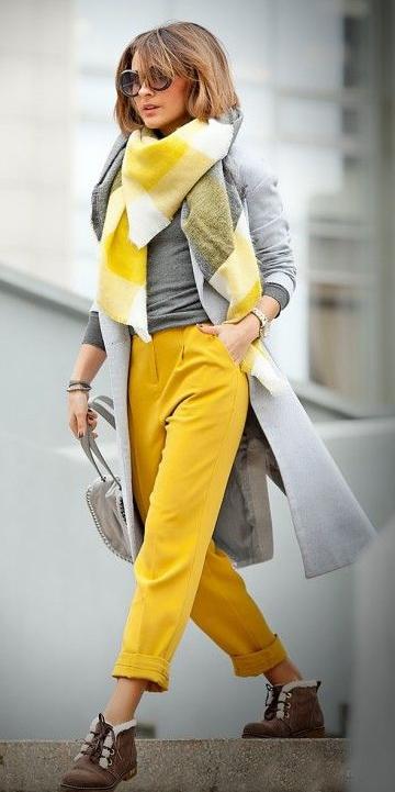 yellow-joggers-pants-grayl-jacket-coat-yellow-scarf-plaid-hairr-bob-sun-brown-shoe-booties-fall-winter-weekend.jpg
