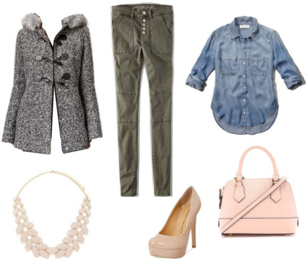 green-olive-skinny-jeans-blue-med-collared-shirt-grayl-jacket-coat-white-bag-necklace-howtowear-fashion-style-outfit-fall-winter-toggle-tan-shoe-pumps-night-dinner.jpg
