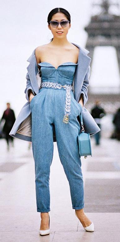 blue-med-jumpsuit-belt-strapless-grayl-jacket-coat-blue-bag-pony-brun-sun-white-shoe-pumps-spring-summer-dinner.jpg