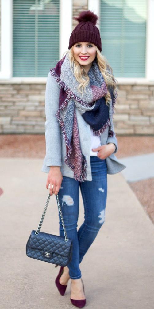 blue-med-skinny-jeans-black-bag-beanie-grayl-scarf-plaid-burgundy-shoe-pumps-grayl-jacket-coat-peacoat-fall-winter-lunch.jpg