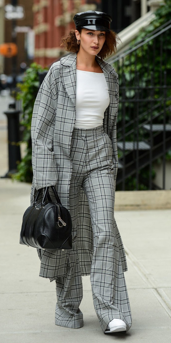 grayl-wideleg-pants-white-tee-newsboy-hat-black-bag-plaid-white-shoe-sneakers-bellahadid-grayl-jacket-coat-fall-winter-hairr-lunch.jpg