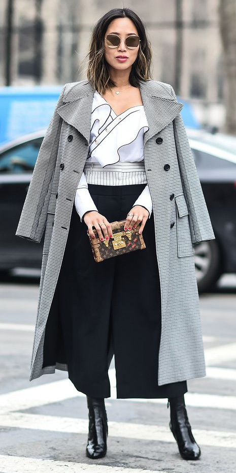 black-culottes-pants-white-blouse-ruffle-grayl-jacket-coat-brun-lob-sun-black-shoe-booties-fall-winter-dinner.jpg