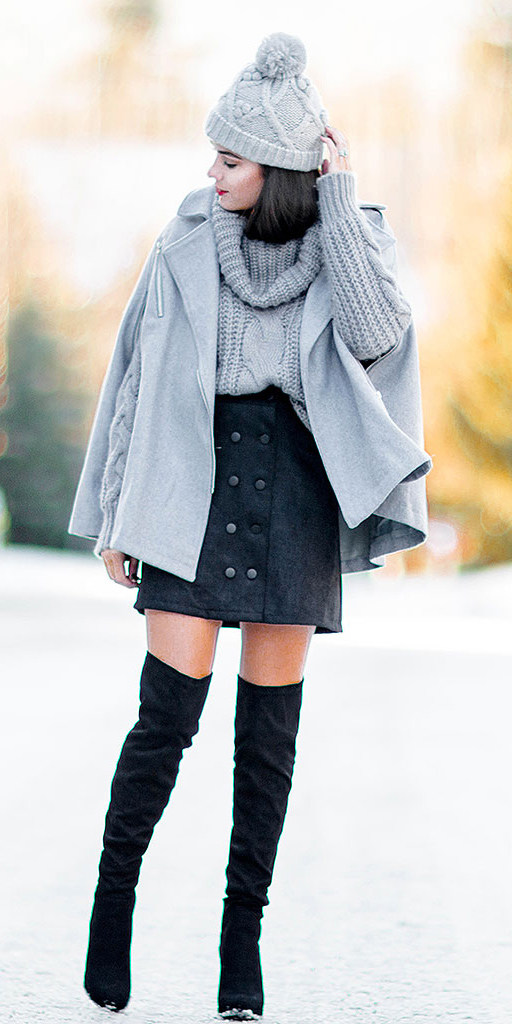 how-to-style-black-mini-skirt-grayl-sweater-layer-grayl-jacket-coat-cape-brun-beanie-black-shoe-boots-otk-fall-winter-fashion-lunch.jpg