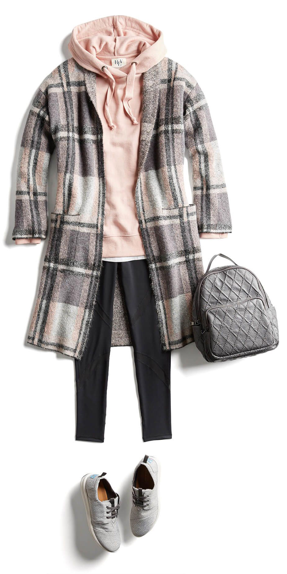 black-leggings-peach-sweater-sweatshirt-hoodie-gray-bag-pack-gray-shoe-sneakers-grayl-jacket-coat-fall-winter-plaid-weekend.jpg