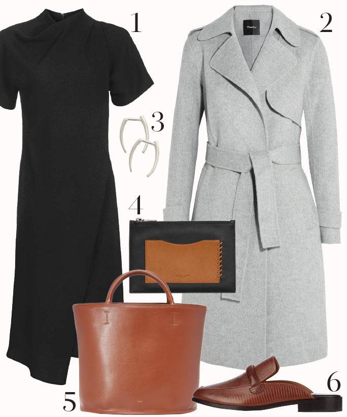 black-dress-grayl-jacket-coat-cognac-shoe-flats-cognac-bag-style-outfit-aline-sheath-shift-loafers-earrings-work.jpg
