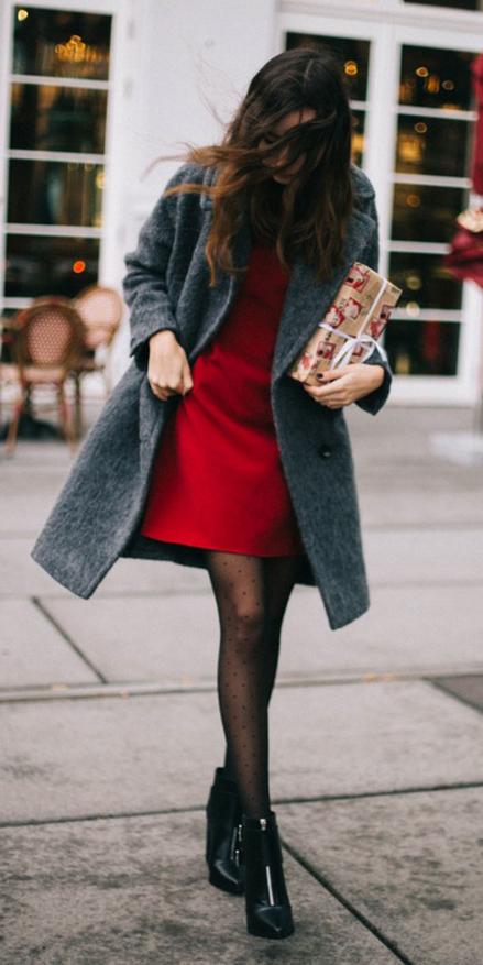 red-dress-sweater-grayd-jacket-coat-black-tights-black-shoe-booties-fall-winter-hairr-dinner.jpg