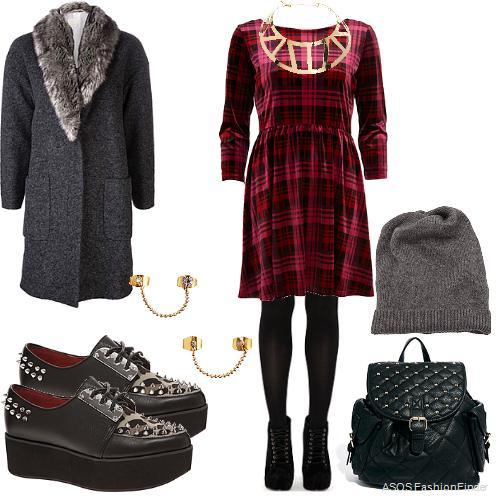 r-burgundy-dress-zprint-plaid-grayd-jacket-coat-black-shoe-brogues-black-bag-pack-howtowear-fashion-style-outfit-fall-winter-beanie-aline-bib-necklace-platforms-lunch.jpg