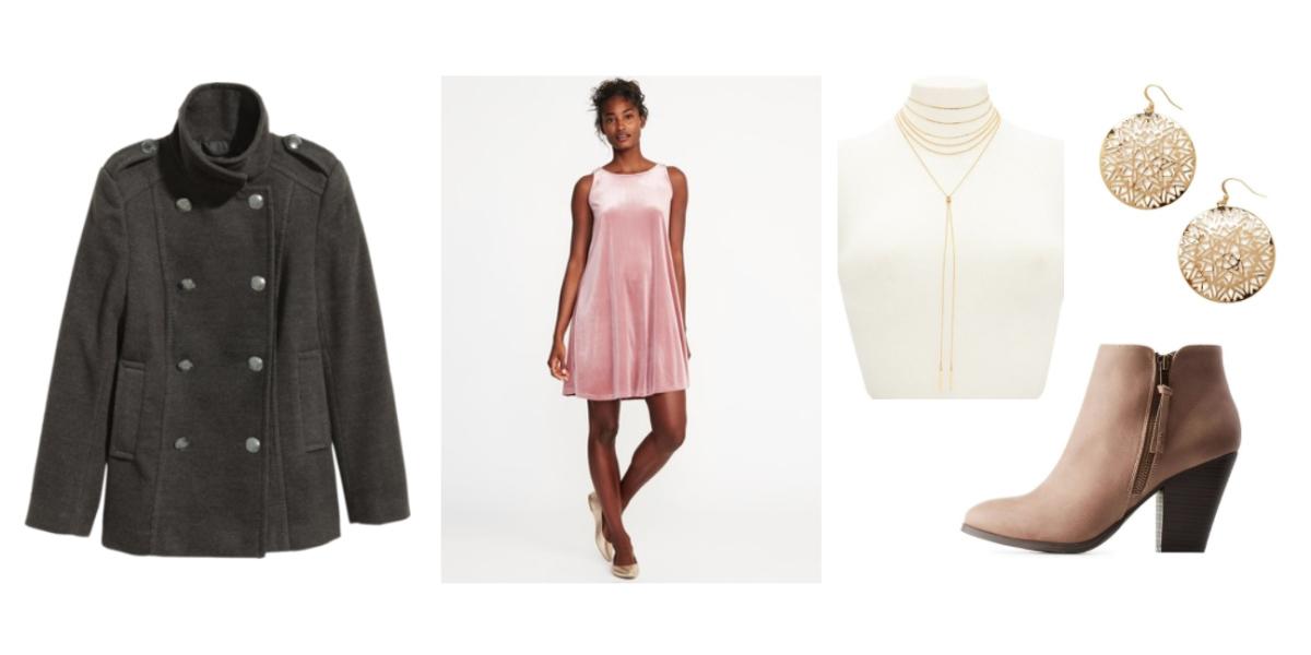 pink-light-dress-swing-velvet-mini-tan-shoe-booties-earrings-choker-grayd-jacket-coat-peacoat-fall-winter-dinner.jpg