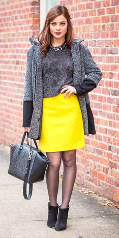 yellow-mini-skirt-grayd-sweater-chain-necklace-grayd-jacket-coat-black-bag-black-tights-black-shoe-booties-fall-winter-hairr-dinner.jpg