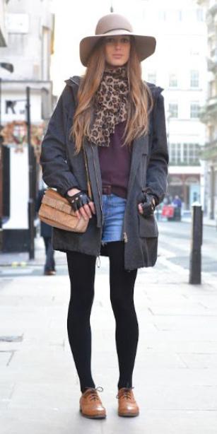 blue-med-shorts-denim-black-tights-hairr-leopard-print-tan-scarf-hat-cognac-shoe-brogues-grayd-jacket-coat-parka-fall-winter-weekend.jpg