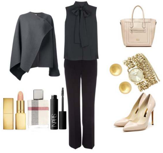 black-wideleg-pants-black-top-blouse-grayd-jacket-coat-cape-white-bag-white-shoe-pumps-howtowear-fashion-style-outfit-fall-winter-bow-studs-watch-work.jpg