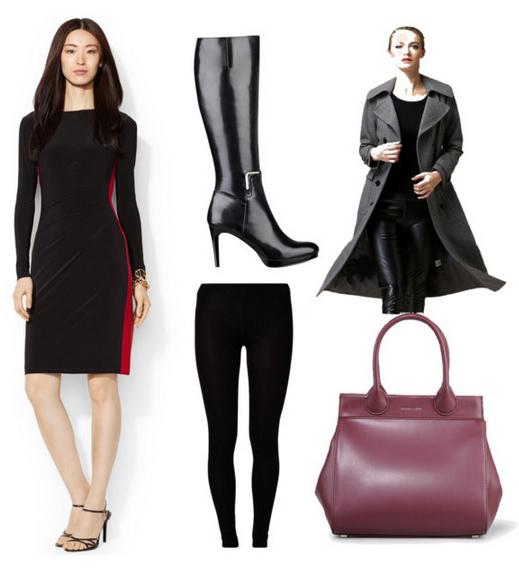 black-dress-grayd-jacket-coat-black-shoe-boots-black-tights-burgundy-bag-hand-howtowear-fashion-style-outfit-fall-winter-shift-sheath-colorblock-work.jpg