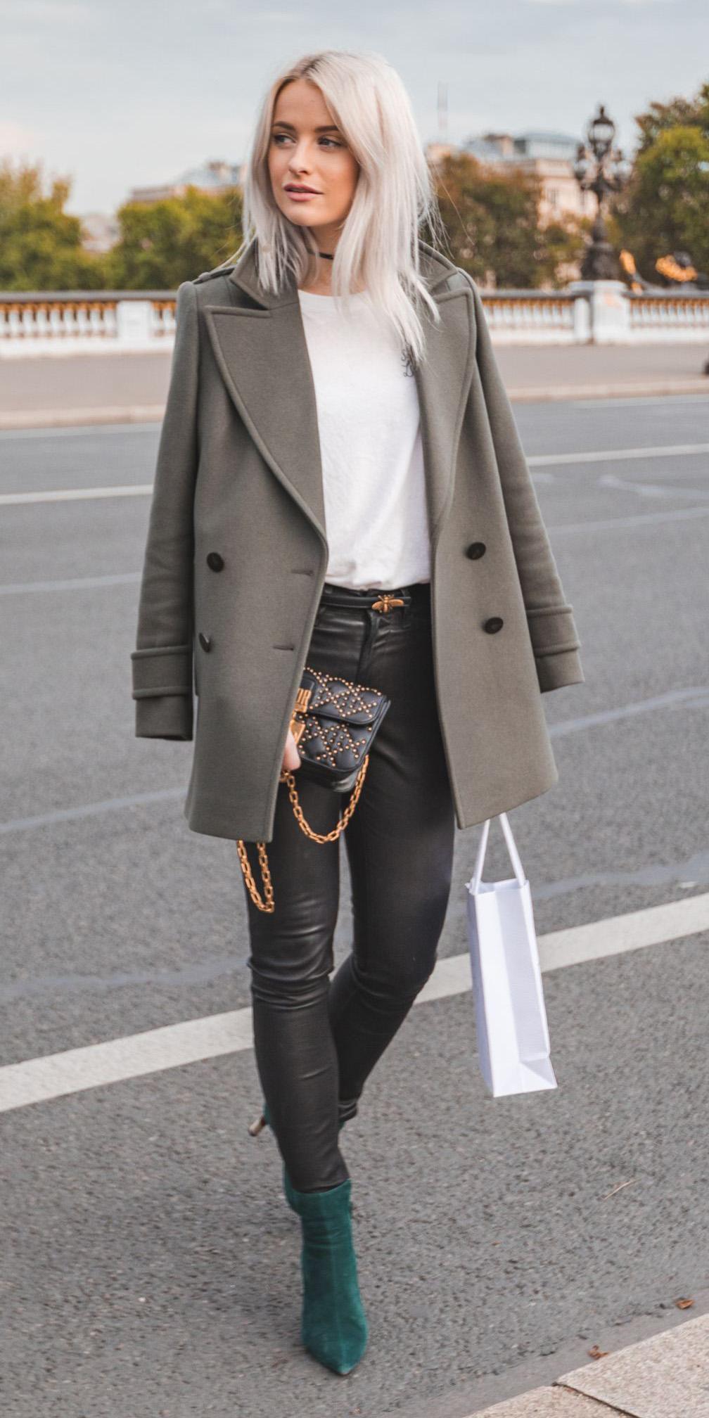 black-skinny-jeans-white-top-blonde-leather-grayd-jacket-coat-peacoat-green-shoe-booties-fall-winter-lunch.jpg