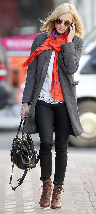 black-skinny-jeans-white-top-blouse-orange-scarf-sun-black-bag-fearnecotton-wear-outfit-fashion-fall-winter-brown-shoe-booties-grayd-jacket-coat-streetstyle-blonde-lunch.jpg